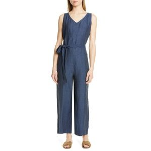 NWT Eileen Fisher Belted Organic Linen Jumpsuit M